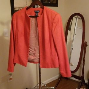 Collarless orange blazer